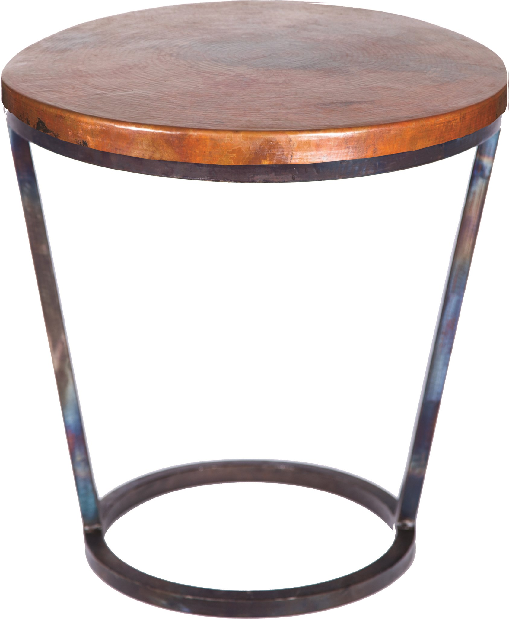Accent Table With Hammered Copper Top