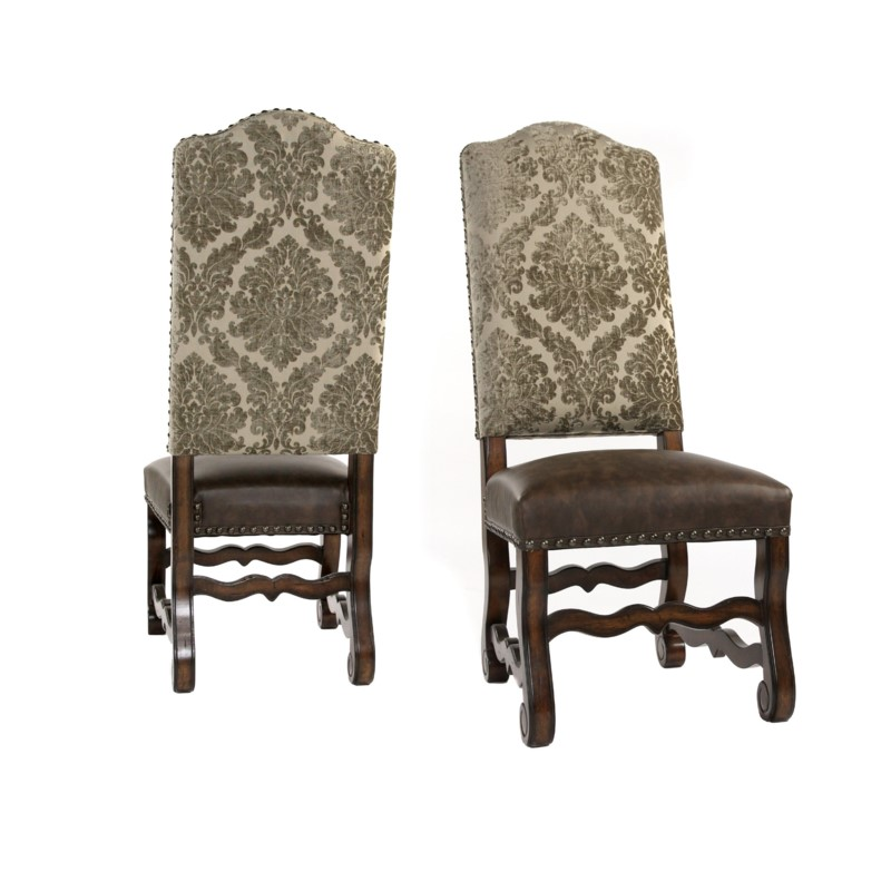 Hayden Side Chair Pewter Damask/Primo Timber