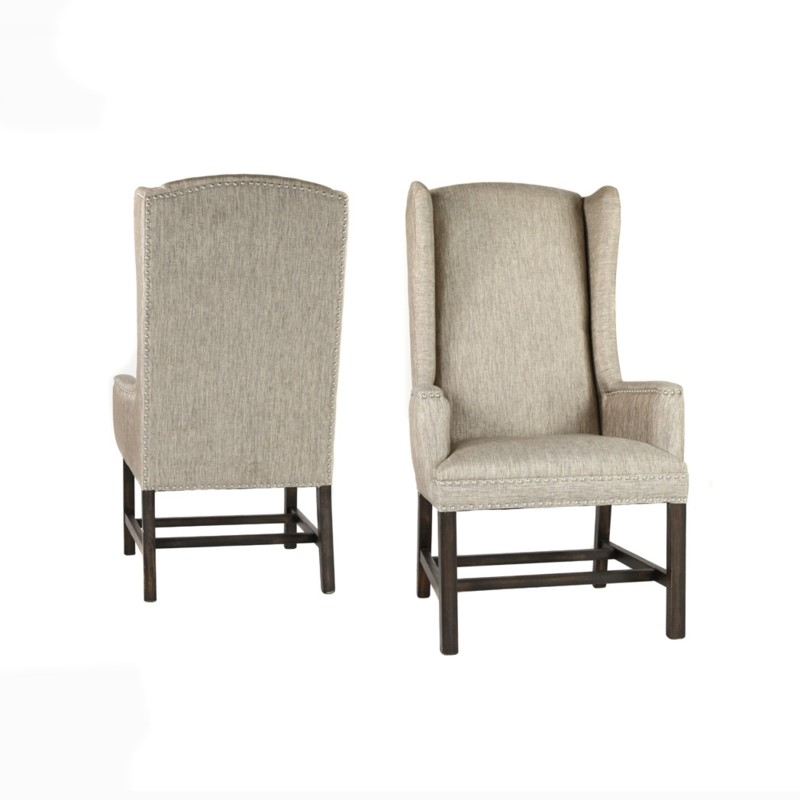 Oliver Wing Back Chair Davis Pewter Dark Walnut