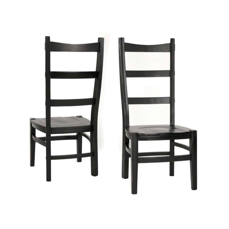 Newark Side Chair Wood Seat Black Finish