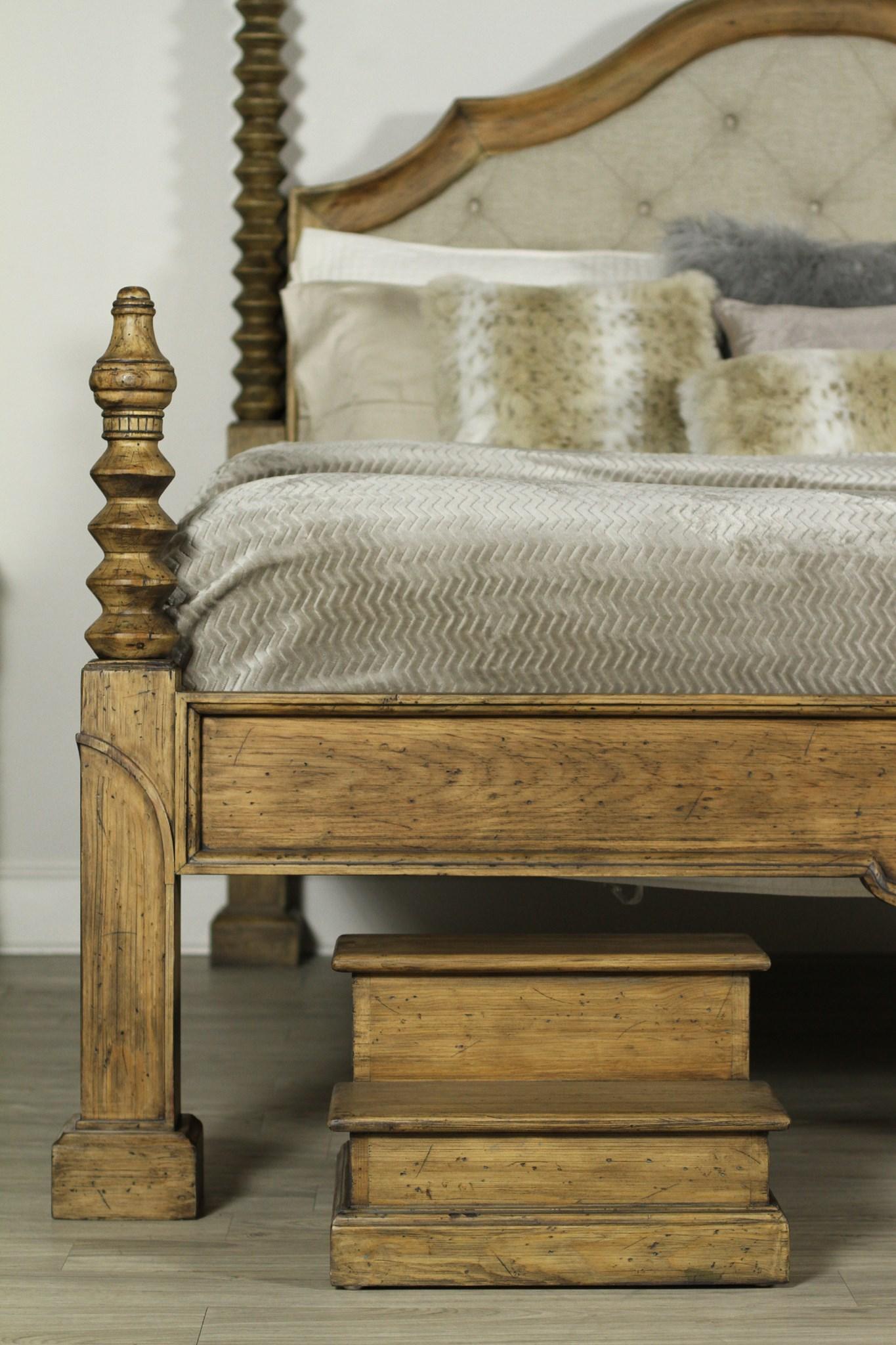 Granada Bed Queen Tufted Linen Driftwood