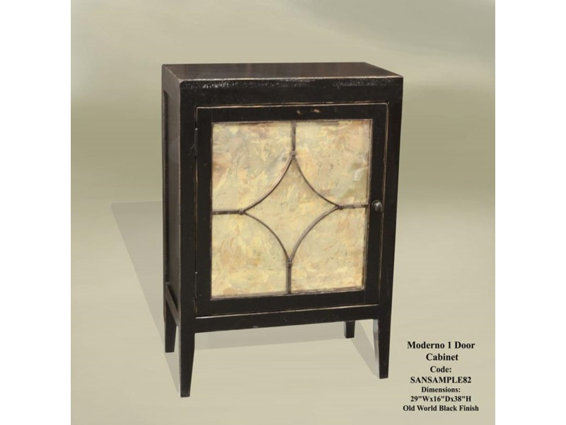 Moderno 1 Door Cabinet Old World Black