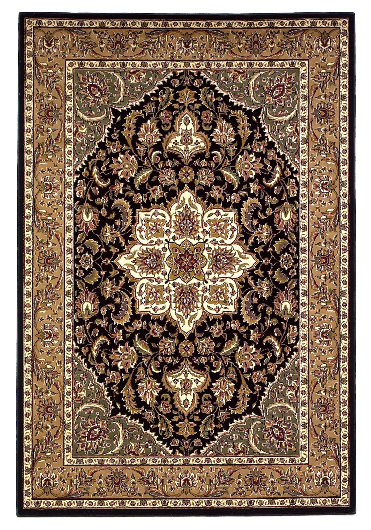 Cambridge 7327 Black/Beige Kashan Medallion