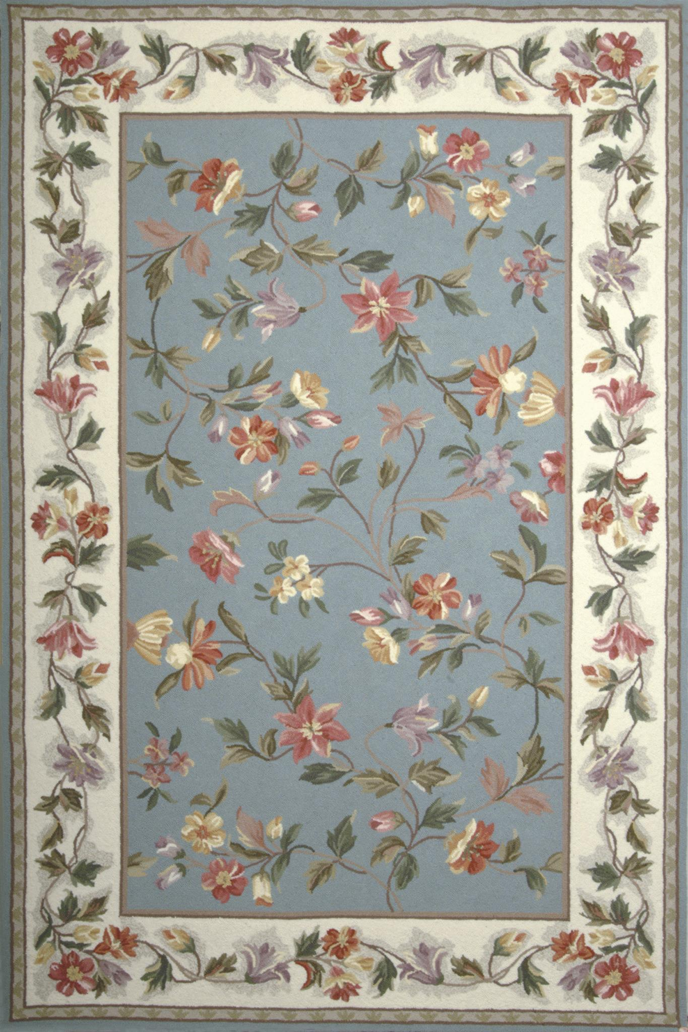 Colonial 1728 Slate Blue /Ivory Floral