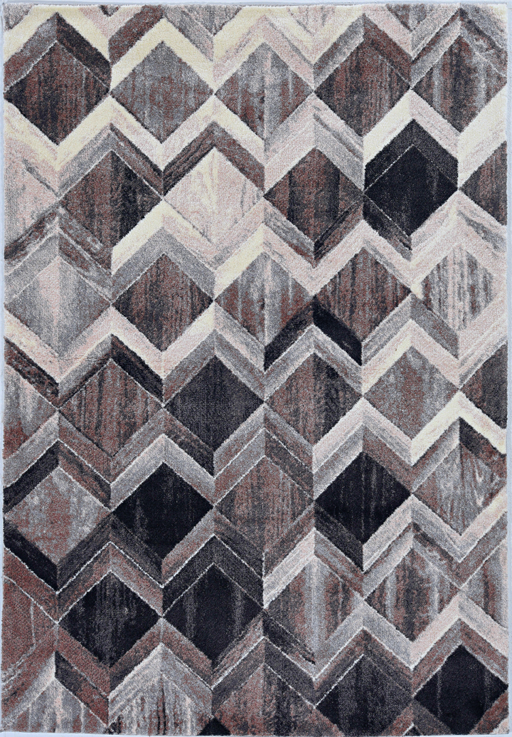 Elements 6555 Grey/Mocha Herringbone