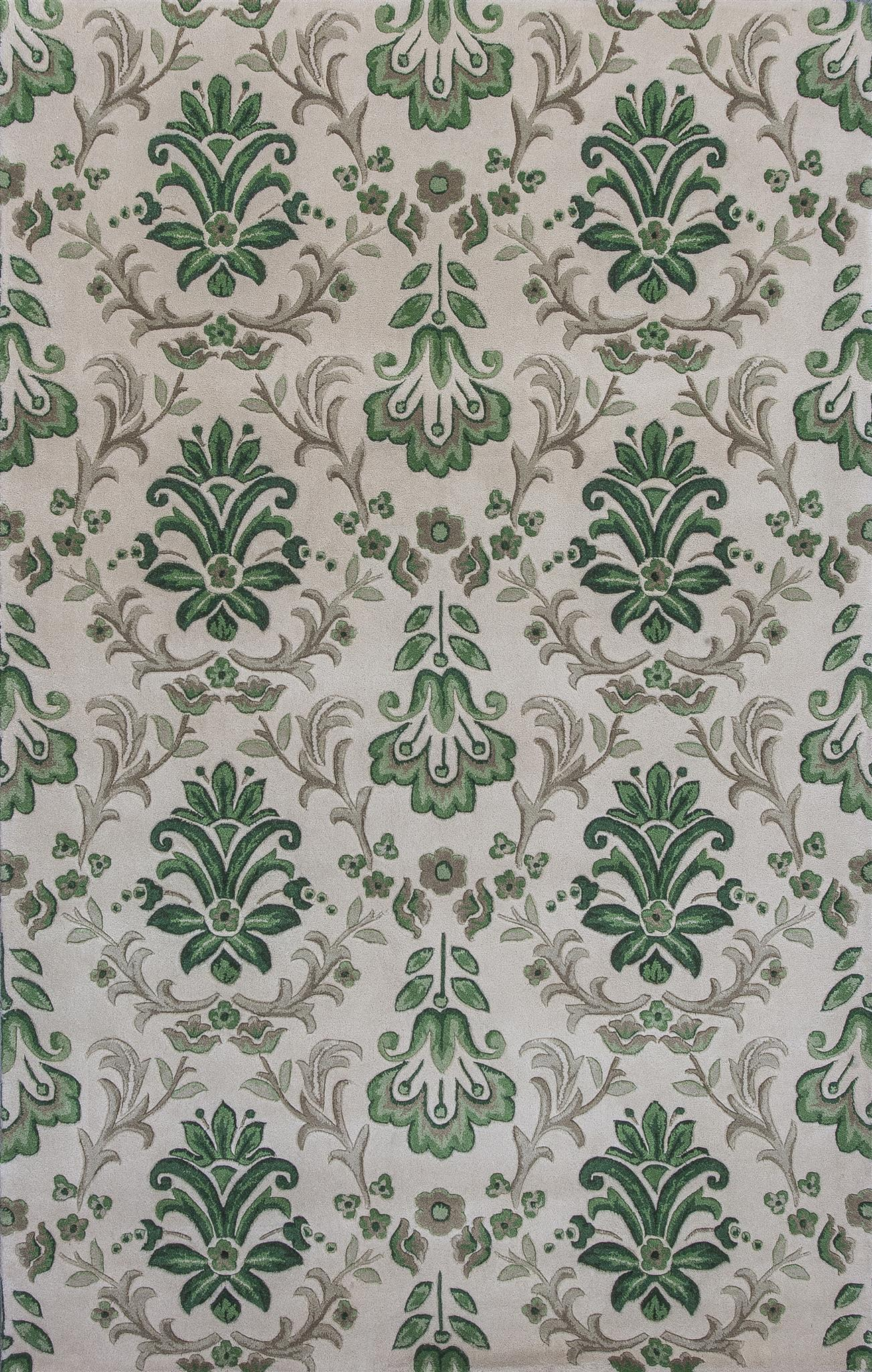 Emerald 9038 Ivory/Green Damask