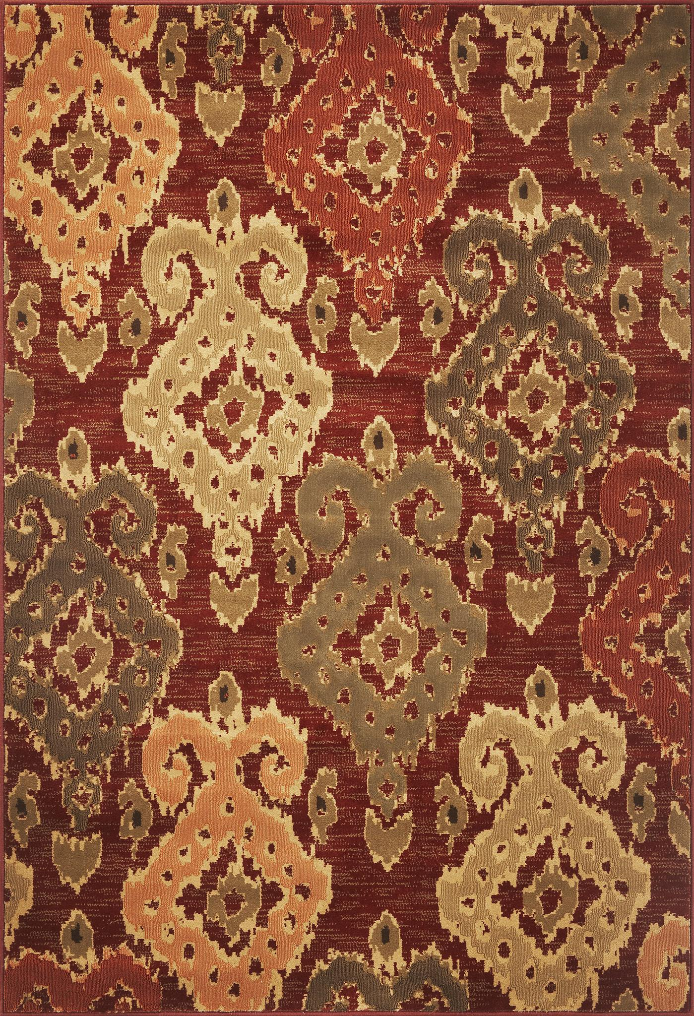 Burgundy Allover Ikat