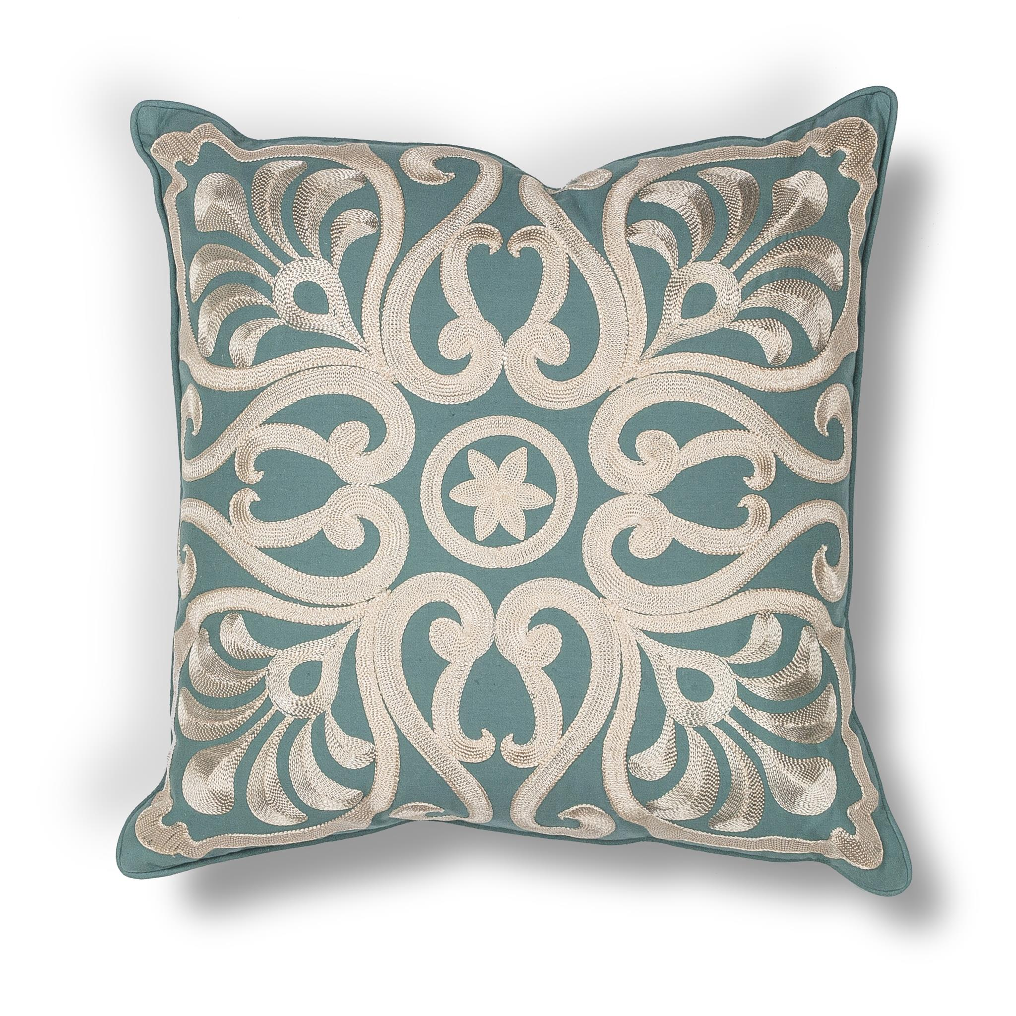 L189 Teal Damask Pillow