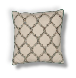 L191 Beige-Teal Trefoil Pillow