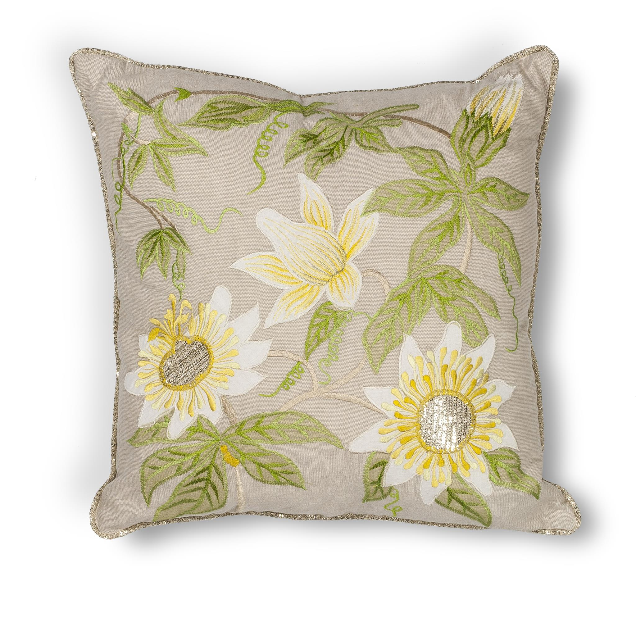 L193 Taupe Sunflowers Pillow