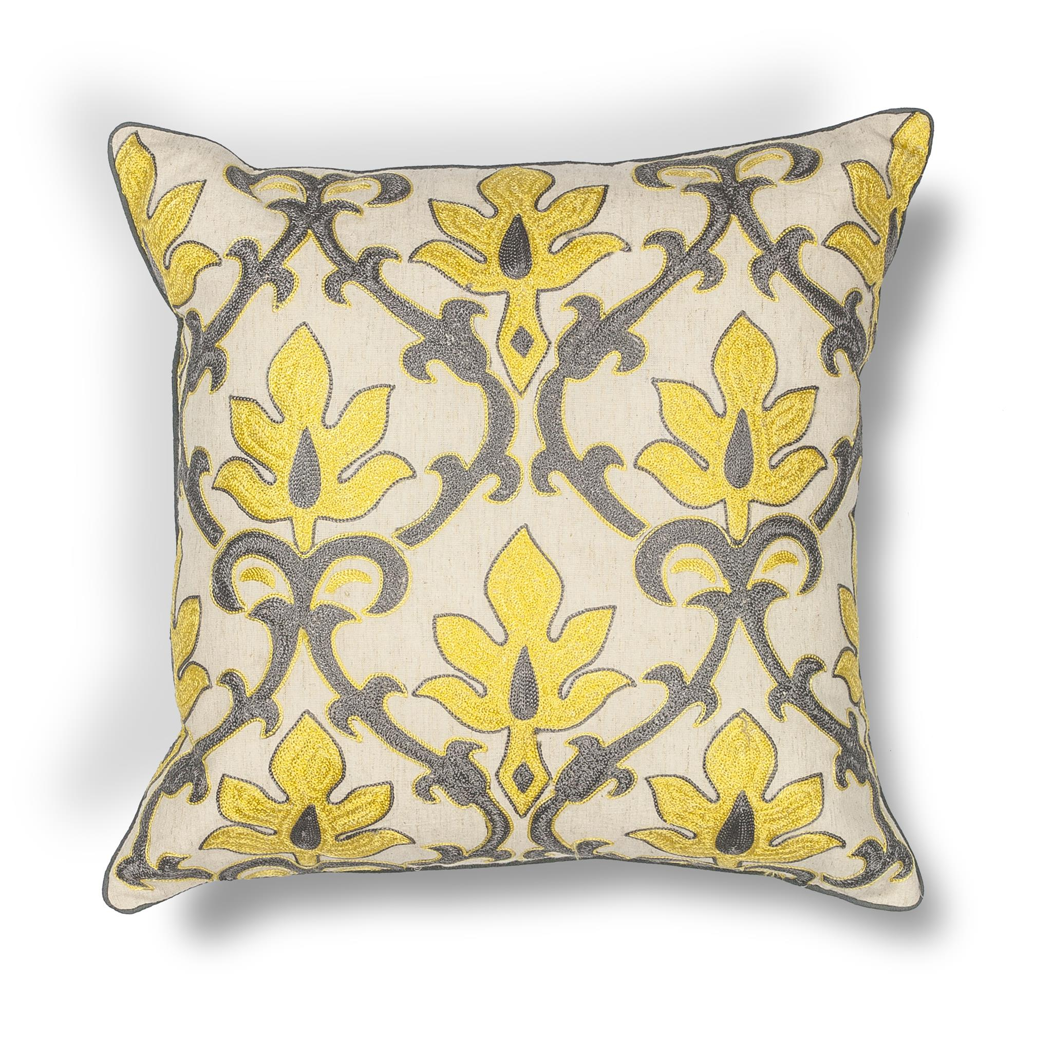L196 Donny Osmond Home Yellow-Grey Damask Pillow