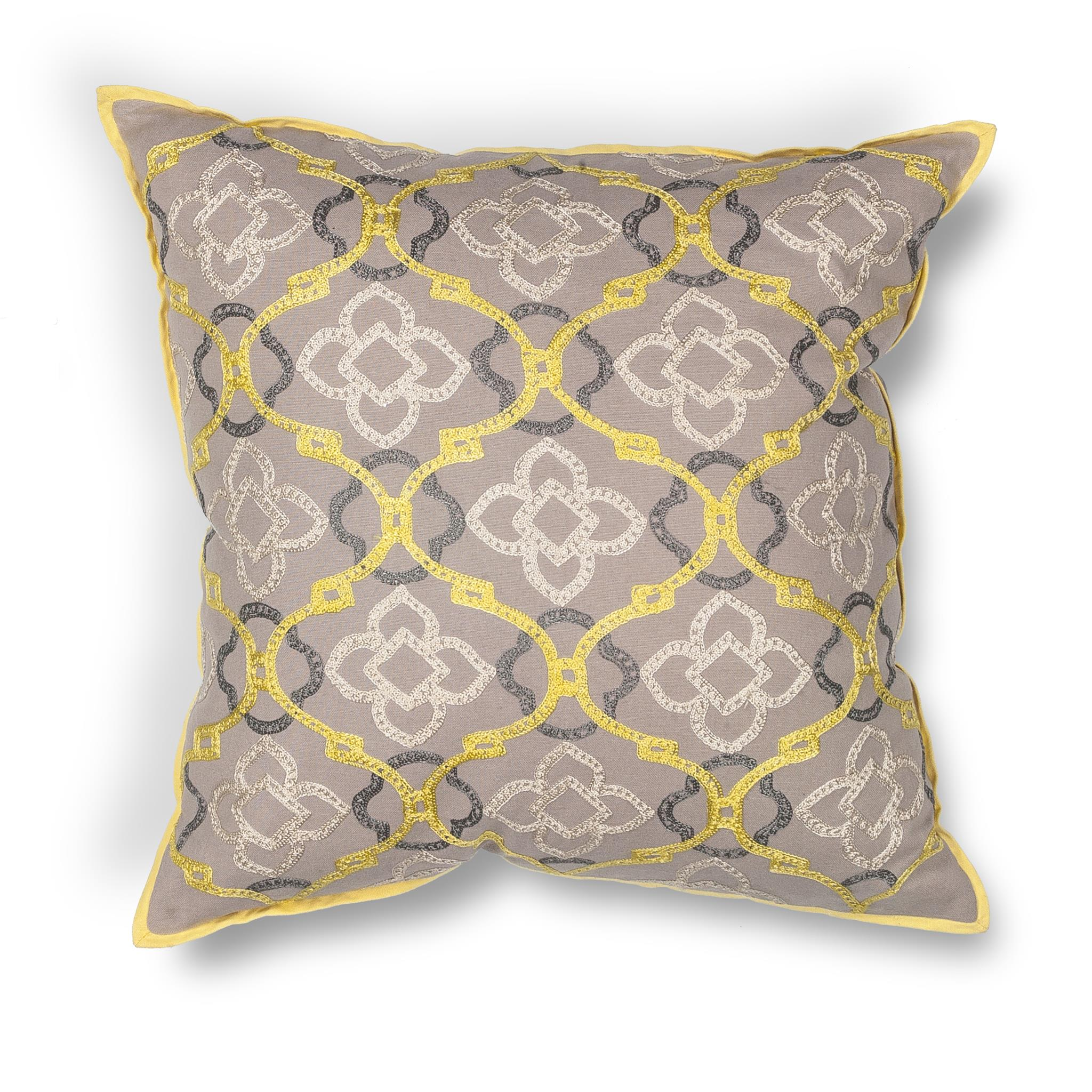 L197 Donny Osmond Home Yellow-Grey Medallions Pillow