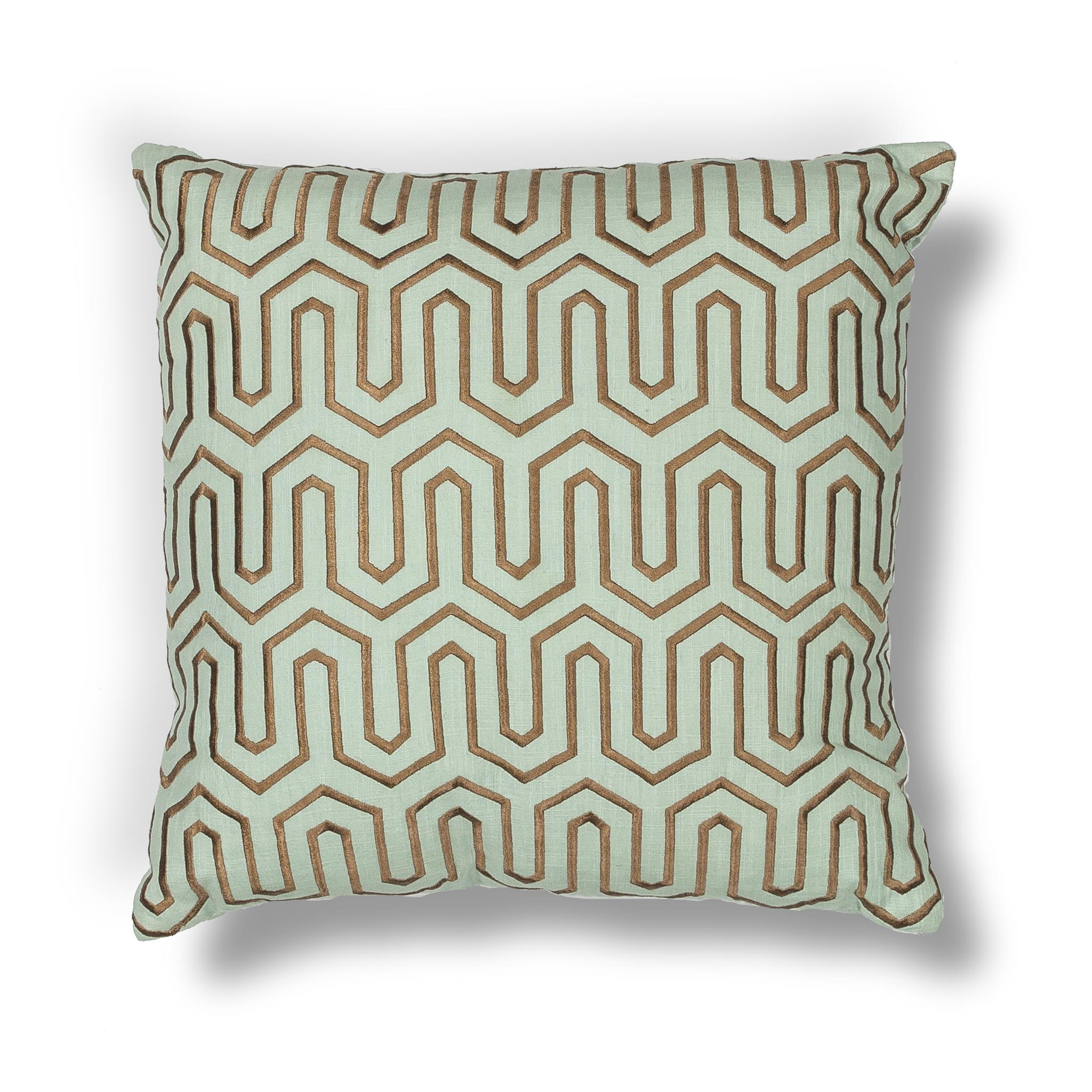 L201 Donny Osmond Home Seafoam-Chocolate Geo Pillow