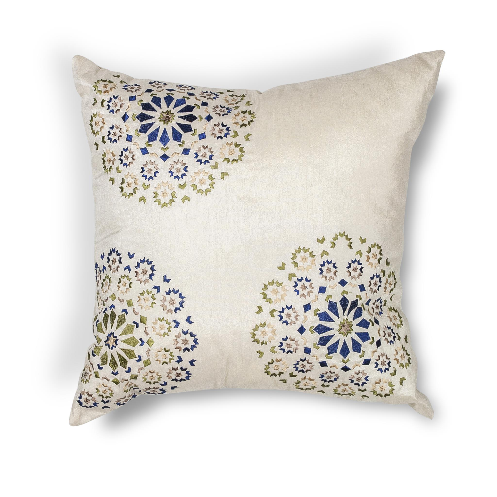 L205 Donny Osmond Home Ivory-Blue Suzani Pillow