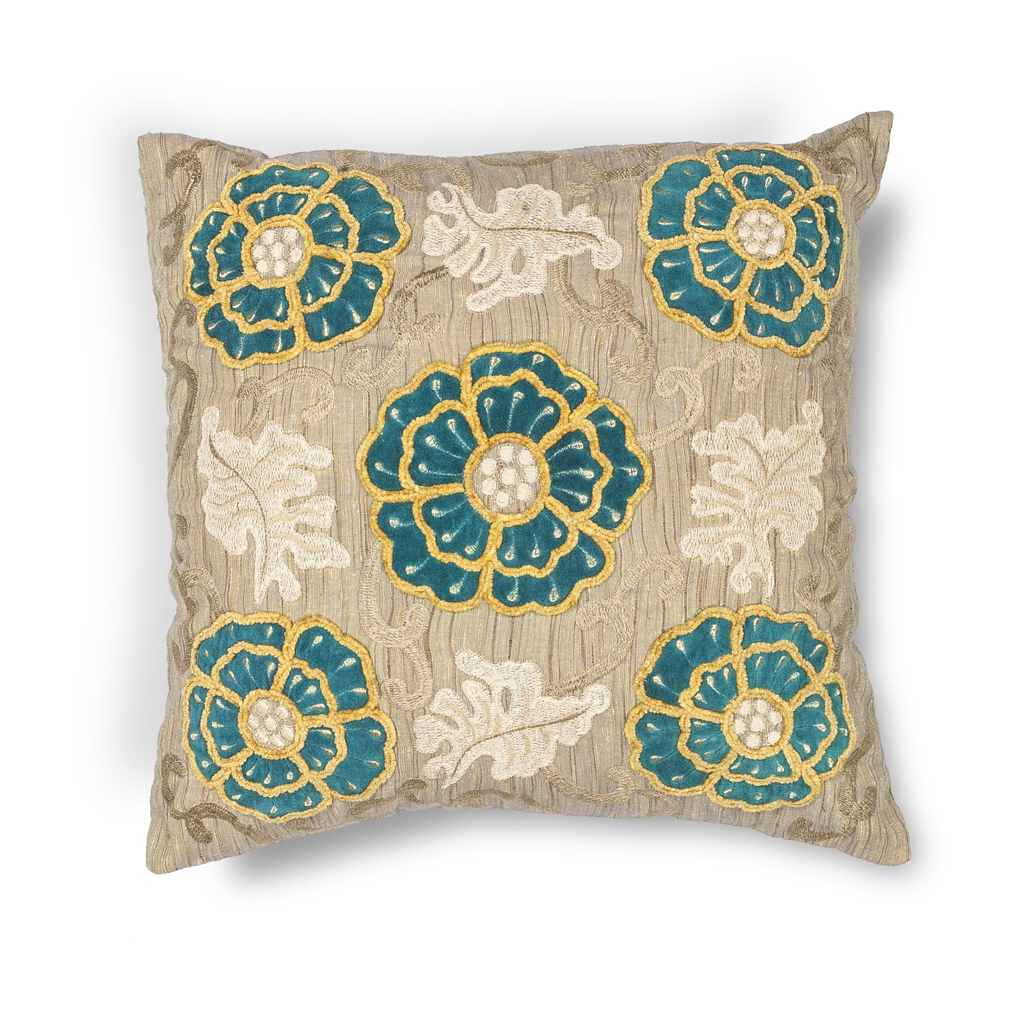 L211 Taupe-Teal Blooms Pillow