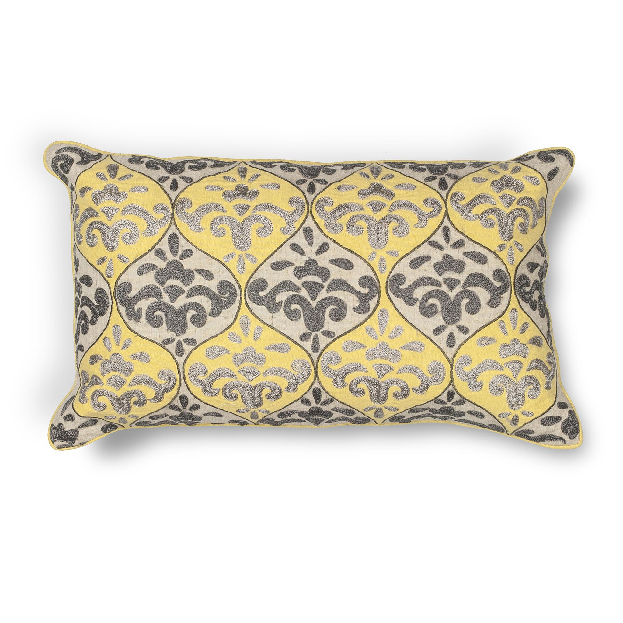 L221 Donny Osmond Home Yellow-Grey Damask Pillow