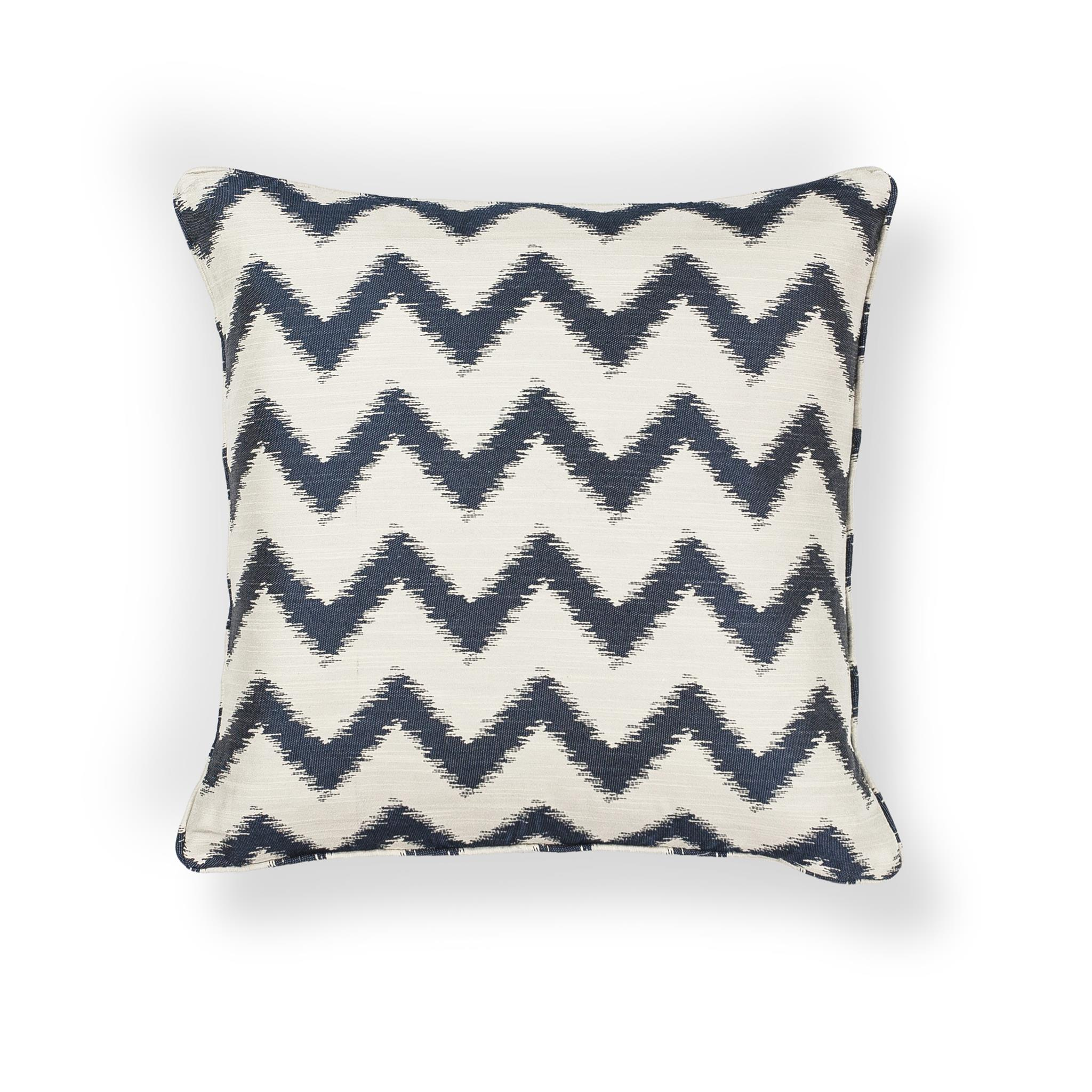 L244 Ivory/Navy Chevron Pillow
