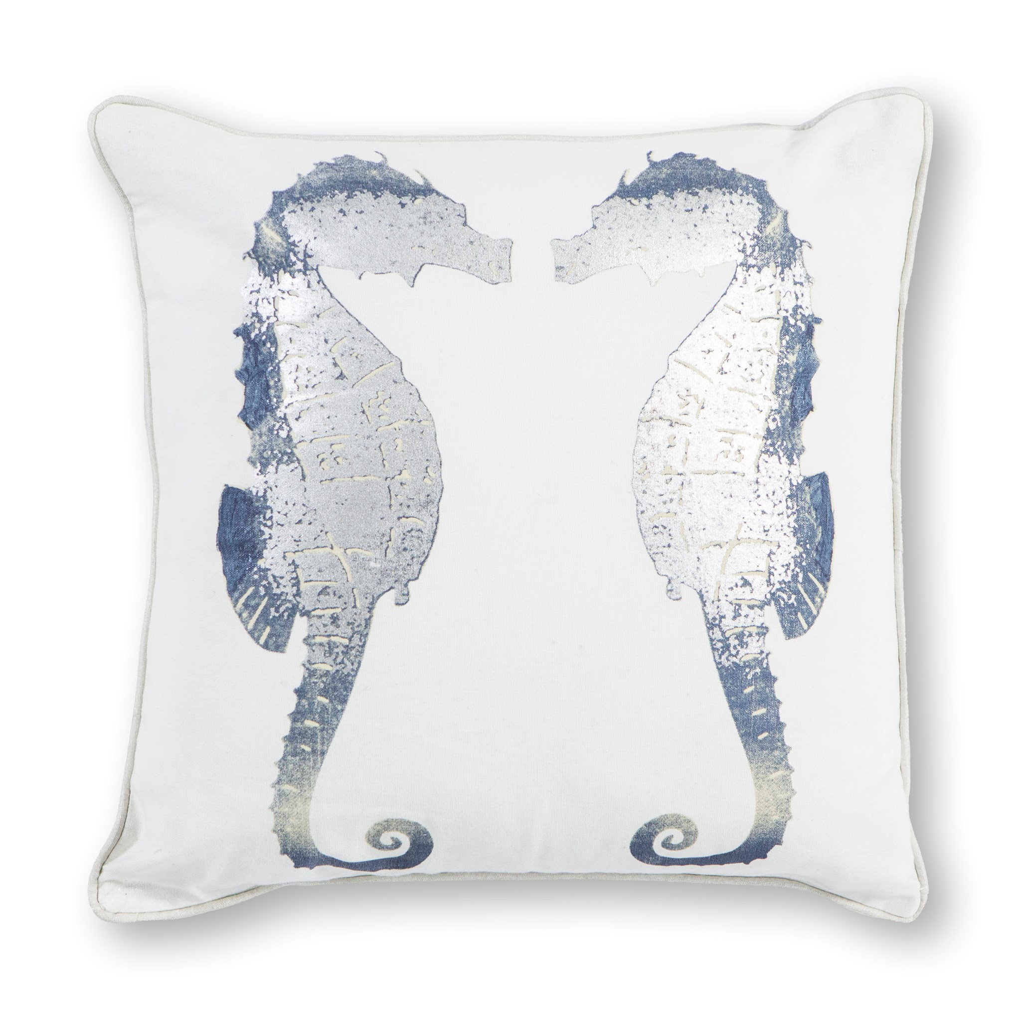 L302 Silver Seahorses Pillow