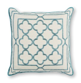 L307 Teal Trefoil Frame Pillow