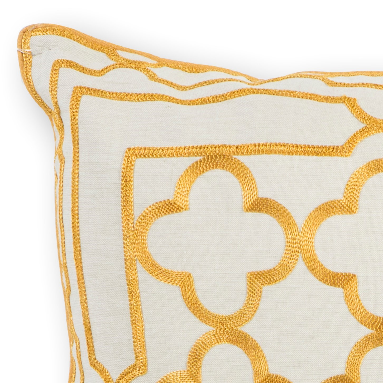 L308 Gold Trefoil Frame Pillow
