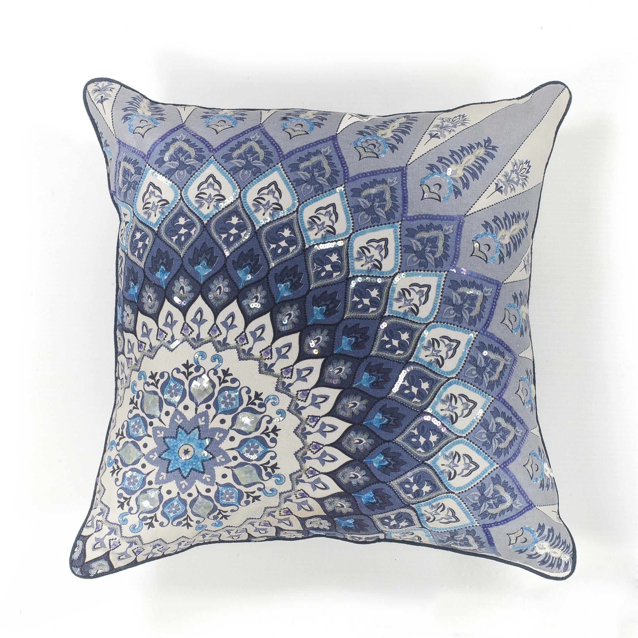 L112 Blue Starburst Pillow