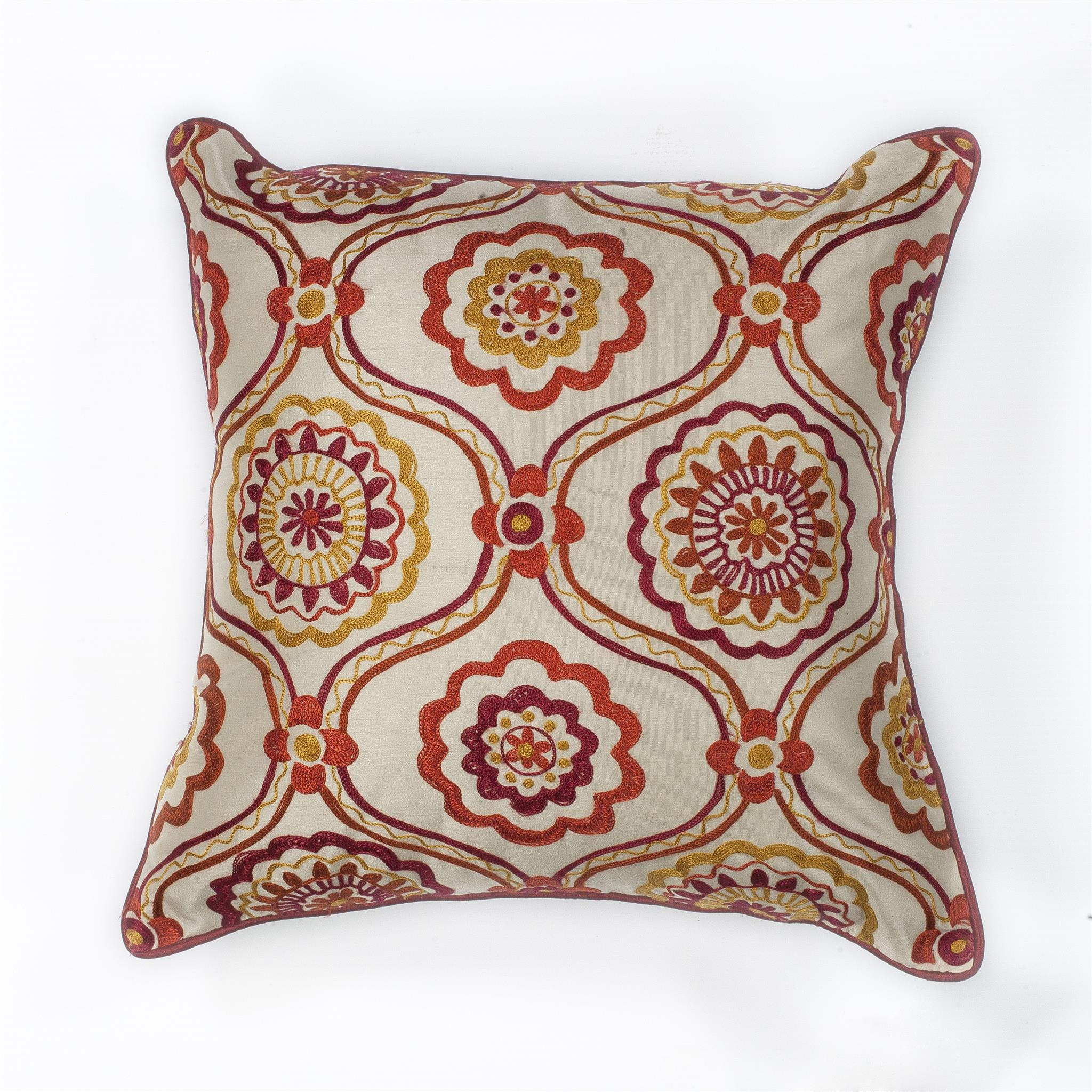 L122 Ivory/Red Mosaic Pillow