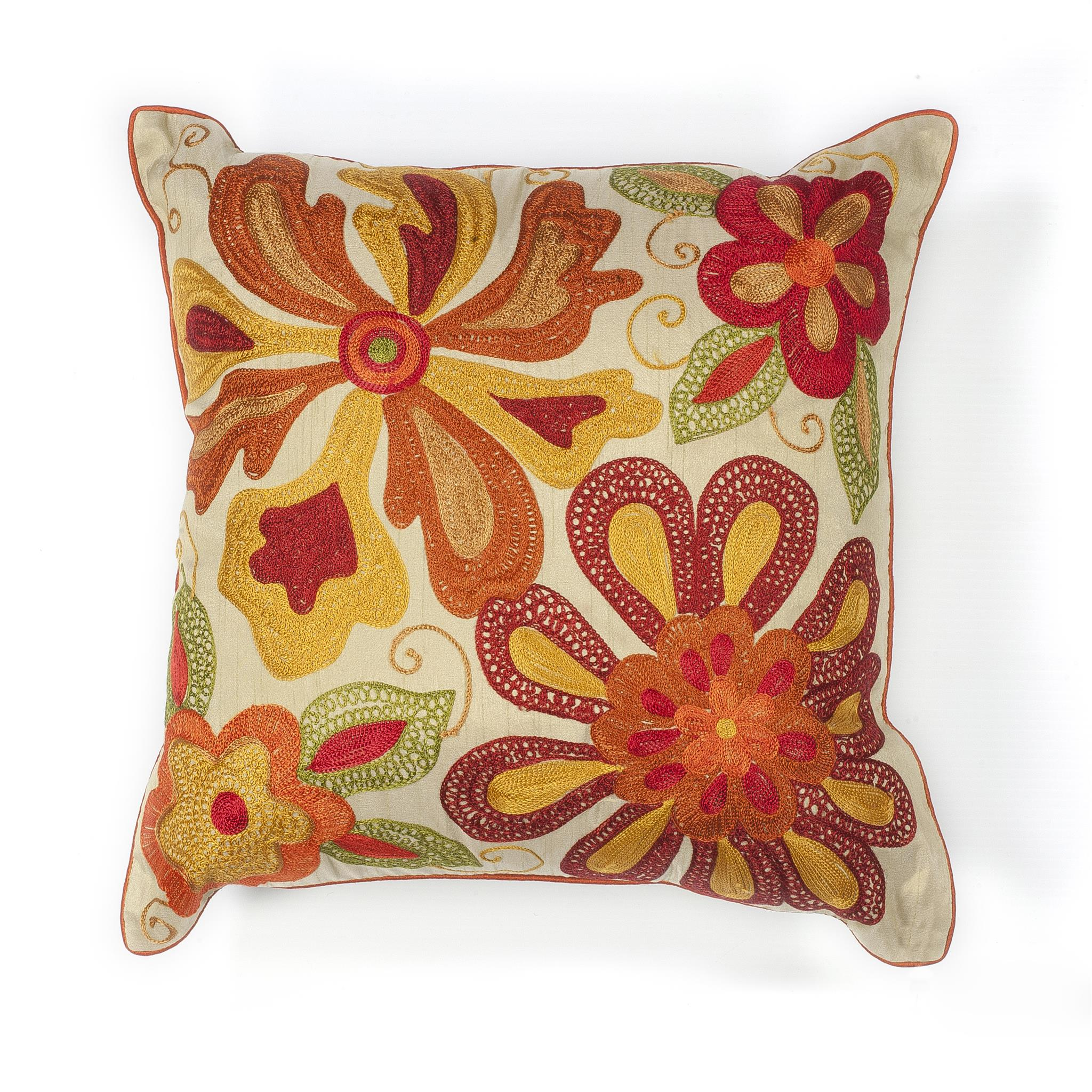 L123 Ivory/Red Sea Flora Pillow