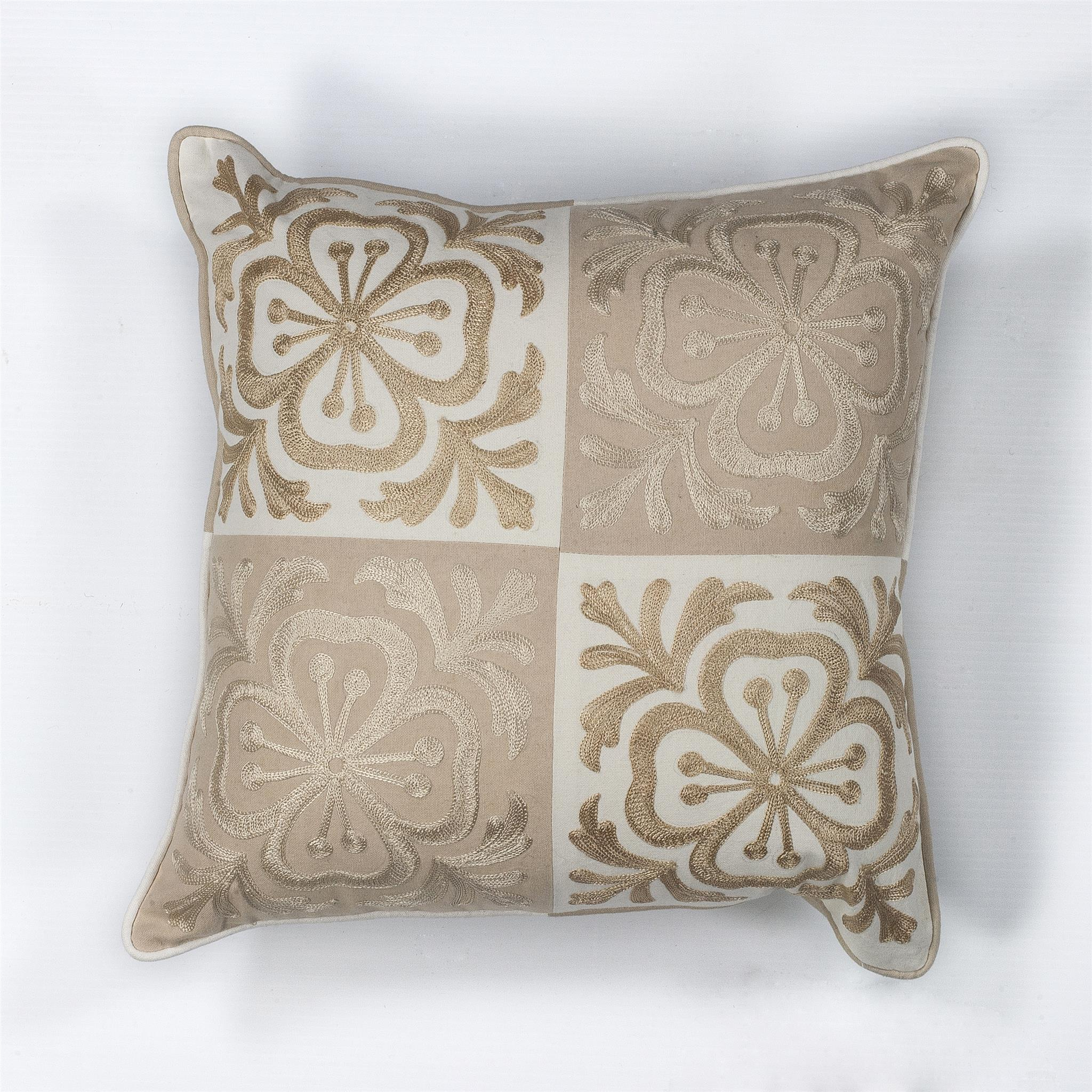 L131 Beige Damask Pillow
