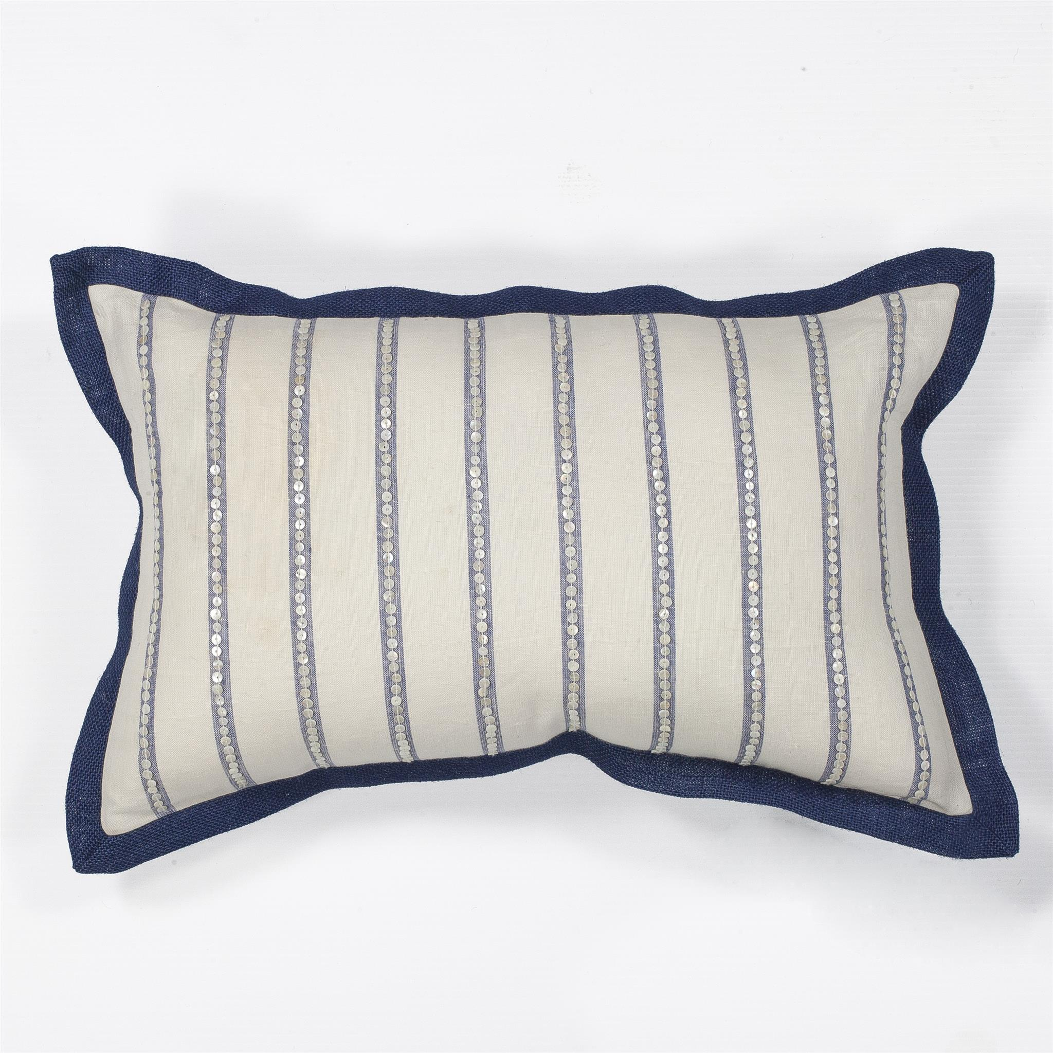 L167 Ivory Nautical Stripes Pillow