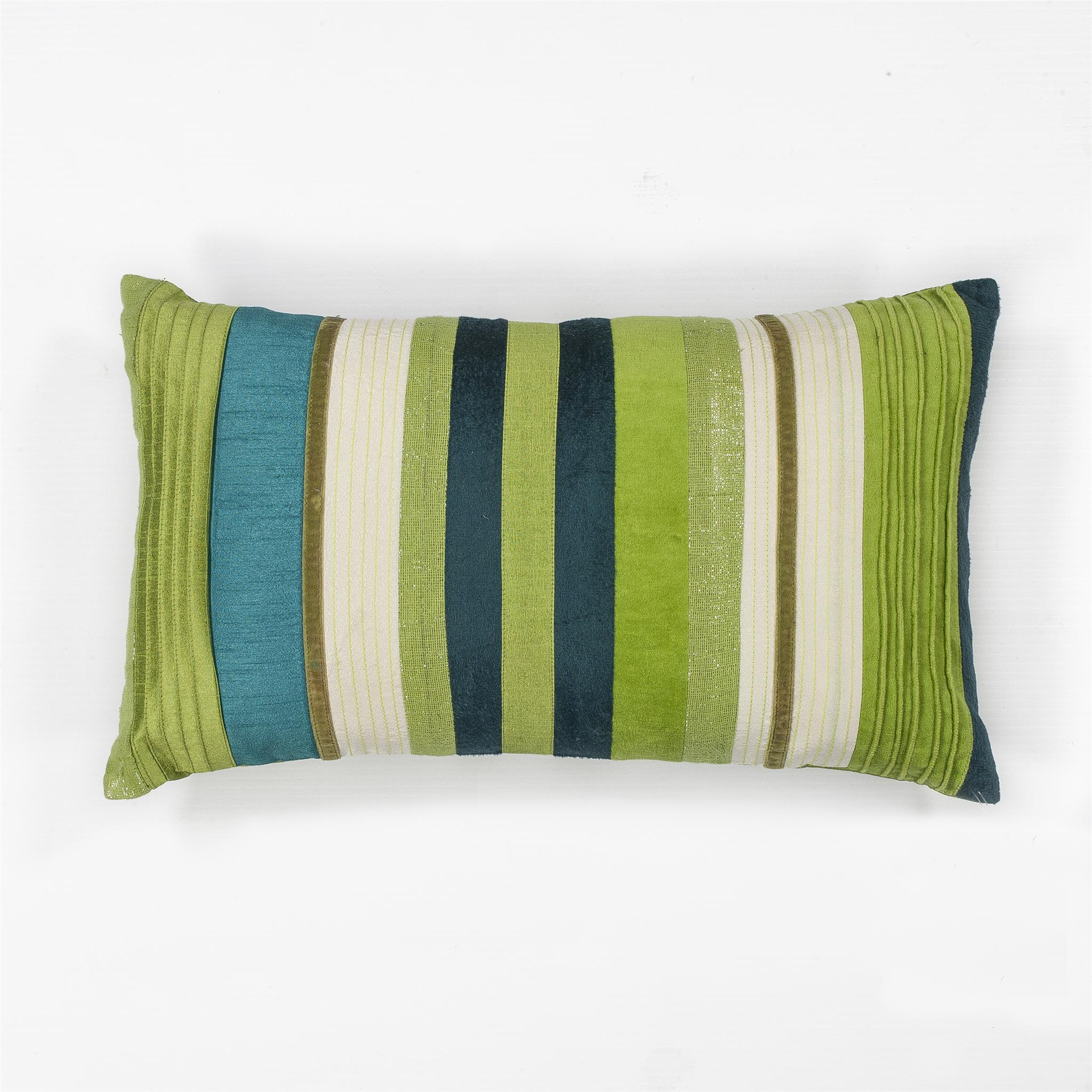 L169 Teal Green Stripes Pillow