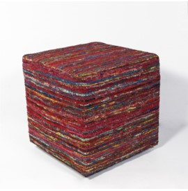 F800 Red Multi Viscose Pouf