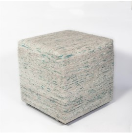 F801 Ice Blue Viscose Pouf