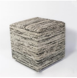 F803 Black & White Viscose Pouf