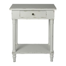 CHAPEL SIDE TABLE-DISTRESSED WHITE