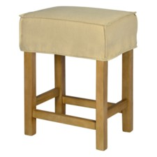 SHORT SADDLE STOOL SLIP COVER-WASHABLE + REVERSIBLE OATMEAL