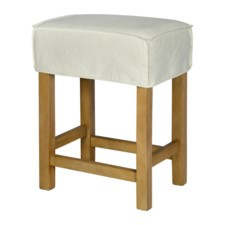 SHORT SADDLE STOOL SLIP COVER-WASHABLE + REVERSIBLE WHITE