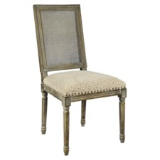 -Square Maxwell Side Chair W/ Cane(Snow Leopard)