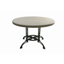 ROUND & METAL TABLE-COTTAGE WHITE