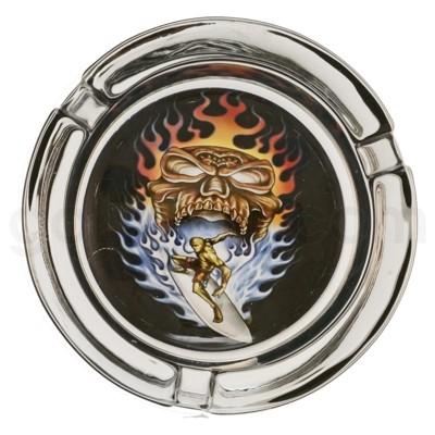 Ashtray Glass Display Fire skull Design 6/6/36