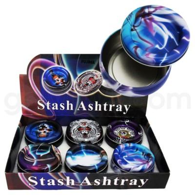 DISC Ashtray metal stash w/storage box 6PC/BX