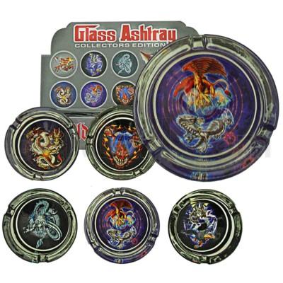 Ashtray Glass Display Dragons 6/6/36