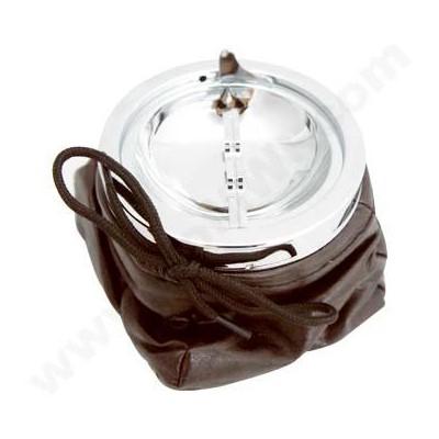 DISC Ashtray Bean Bag Brown w/chrome lid