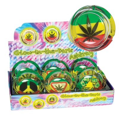 Ashtray Glass Glow In Dark Leaf & peace Design 6PC/BX