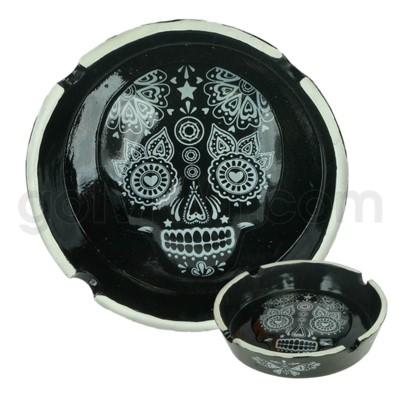 Ashtray Polystone Skull Black 48/cs