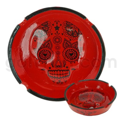 Ashtray Polystone Skull Red