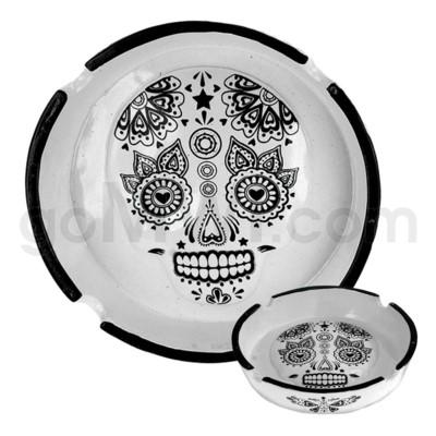 Ashtray Polystone Skull White