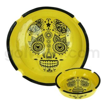 Ashtray Polystone Skull Yellow