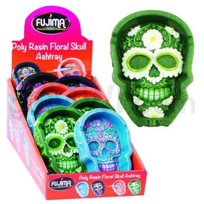 Ashtray Polystone Flat Floral Skull Designs 8PC/BX 6bx/cs