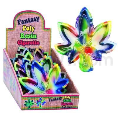 Ashtray Polystone Tie-Dye Leaf  Shape 8PC/BX 6bx/cs