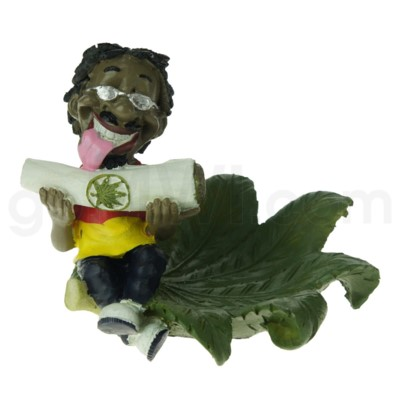 Ashtray Polystone Jamaican Man Cigarette - Leaf Design 36/cs